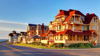 Victorian seaside homes in Oak Bluffs a town located on the island of Martha's Vineyard in Dukes County, Massachusetts, United States. Oak Bluffs is a romantic Victorian seaside summer resort