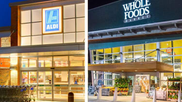 A side-by-side image shows the storefronts of Aldi and Whole Foods