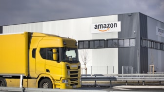 Facade of new logistics center of amazon in Raunheim-Moenchhof, Germany. Amazon (Amazon.com, Inc.) is an American electronic commerce and cloud computing company and the largest Internet reta