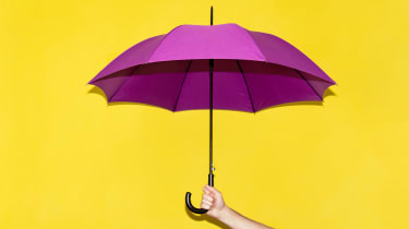 A purple umbrella against a yellow background.