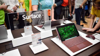 LONDON, ENGLAND - JULY 11: A Microsoft Surface device on display at the Microsoft store opening on July 11, 2019 in London, England. Microsoft opened their first flagship store in Europe this