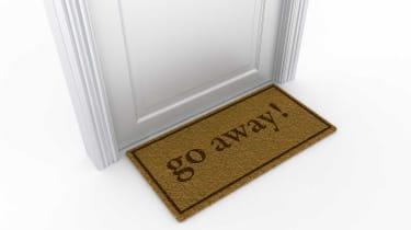 """3d rendering of a door with a """"go away"""" doormat"""