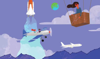illustration of lady in balloon gondola with planes