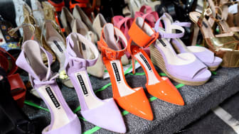 NEW YORK, NY - SEPTEMBER 12:A view of shoes backstage at alice+olivia by Stacey Bendet Spring 2018 Presentation at Skylight Clarkson Sq on September 12, 2017 in New York City.(Photo by Ilya S