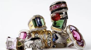 Stacked luxury ring isolated on white background.
