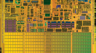 SANTA CLARA, CA - March 12:This handout image from Intel Corp. shows a die shot of the Centrino processor chip released by Intel on March 12, 2003 in Santa Clara, California. According to Int