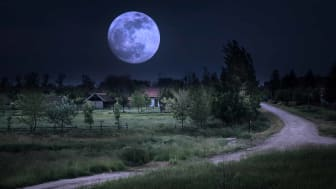 Full moon over a Kentucky farm and back road