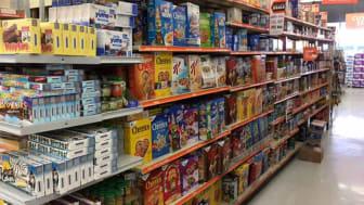 Full shelves inside a Big Lots store