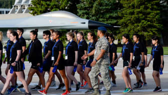picture of high school students marching during summer session at the Air Force Academy
