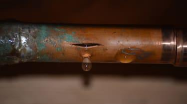 Burst water pipe, still dripping
