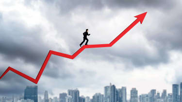 Concept art of a man running up a stock market arrow pointed up.