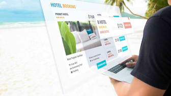 Concept art showing a consumer looking at a travel website.