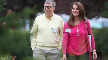 Bill and Melinda Gates walk together.