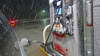 picture of gas pumps in the snow