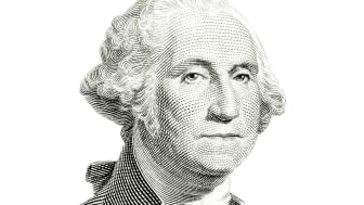 The familiar George Washington portrait of US one dollar banknote isolated on white. Carefully edited and color corrected for fit with the white background instead of original dark one. A tin