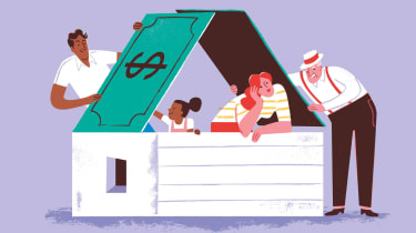 Illustration of a family in a house under a roof made of dollar bills