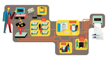 Illustration of stock trade process