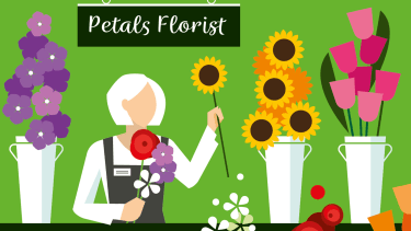 Illustration of retiree working in floral shop