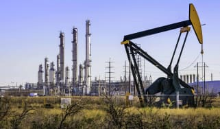 oil derrick and refinery