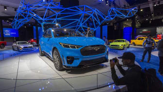 LOS ANGELES, CA - NOVEMBER 21: The electric Ford Mustang Mach-E is shown at AutoMobility LA on November 21, 2019 in Los Angeles, California. The four-day press and trade event precedes the Lo