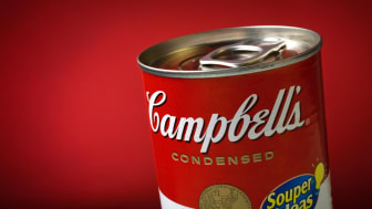 Brasilia, Brazil - August 30, 2008: Classic Campbell's Condensed Soup Can registered on a red background. Produced in 1962 by the american artist Andy Warhol, the art that illustrates the can