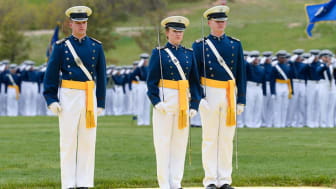 picture of Air Force Academy cadets in dress uniform on the parade ground