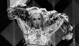 Britney Spears performs on stage.
