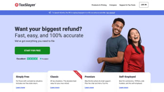 Screenshot of TaxSlayer home page with happy millennial couple