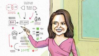 Photo-illustration of Savita Subramanian pointing to market signposts