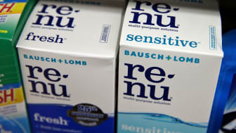 SAN FRANCISCO, CA - MAY 28:Boxes of Bausch and Lomb contact lens solution sit on a shelf at Arguello Market on May 28, 2013 in San Francisco, California. Valeant Pharmaceuticals, Canada's lar