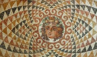 An ancient Greek mosaic tile piece of art.