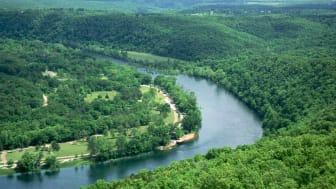 A river winds through Arkansas