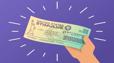 drawing of hand holding a stimulus check