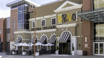 Buffalo, New York, USA - September 22, 2019: The BRAVO Cucina Italiana restaurant at Walden Galleria in Buffalo; an Italian chain serving pasta, grilled dishes, pizza & cocktails amid Roman-r