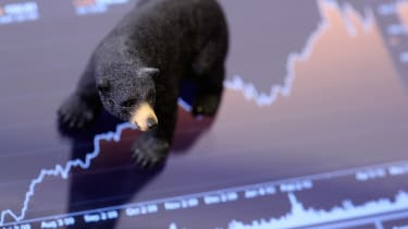 shot of figurine bear on stock chart