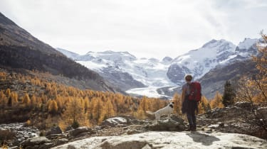 A woman and her dog are hiking in Switzerland.