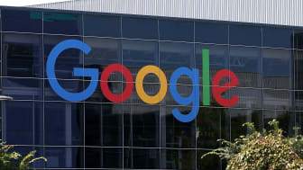 MOUNTAIN VIEW, CA - SEPTEMBER 02:The new Google logo is displayed at the Google headquarters on September 2, 2015 in Mountain View, California.Google has made the most dramatic change to thei