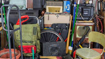 The inside of a cluttered garage