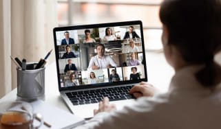 A person using video conferencing