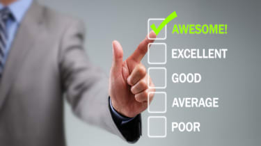 Tick placed in awesome checkbox on customer service satisfaction survey form
