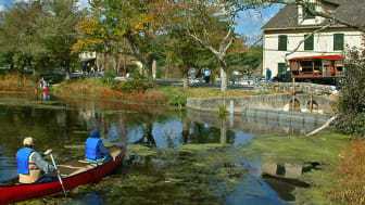 Boaters on a pond in Milford, Delaware