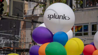 SAN FRANCISCO, CA JUNE 23, 2018: White Splunk logo on balloon in urban setting