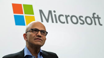 """BERLIN, GERMANY - FEBRUARY 27: Satya Nadella, CEO of Microsoft, speaks with Herbert Diess, CEO of Volkswagen AG, (not pictured) at a """"fireside chat"""" to the media about a joint project between"""