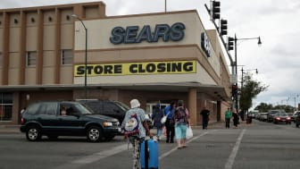 CHICAGO, IL - AUGUST 24:A sign announcing the store will be closing hangs above a Sears store on August 24, 2017 in Chicago, Illinois. Sears Holdings Corporation, which owns both Sears and Km