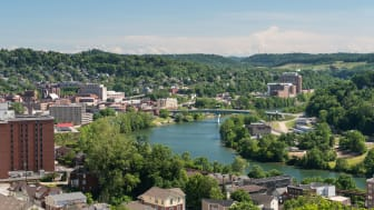 aerial view of Morgantown, WV