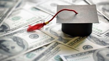 photo illustration of grad cap and money