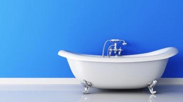 A white claw-foot bathtub.
