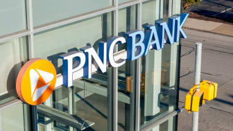 Pittsburgh, Pennsylvania, USA 4/19/20 The PNC bank logo on the side of a building, PNC is a Pittsburgh area bank which first began business in 1852