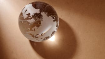 glass globe on the woden background