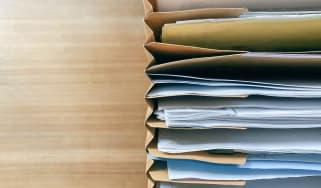 Documents in filing folders.